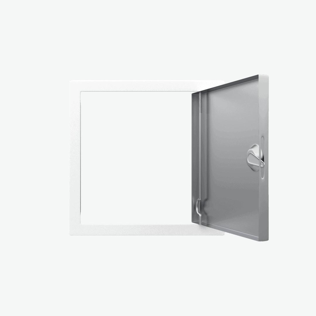 Trappe de visite métallique blanc trappe de visite metallique softline ouverture 4 pans ouvert