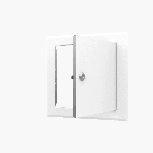 Trappe de visite métallique blanc trappe de visite metallique softline ouverture cle cylindrique ouvert