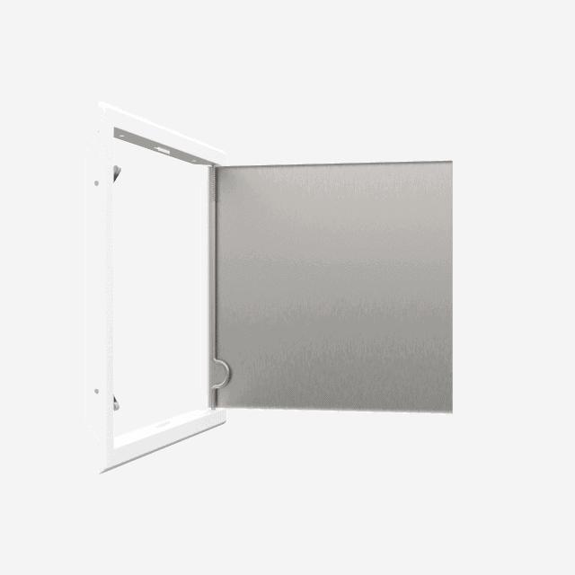 Trappe de visite métallique blanc trappe de visite metallique softline ouverture pousser lacher 360 ouverte