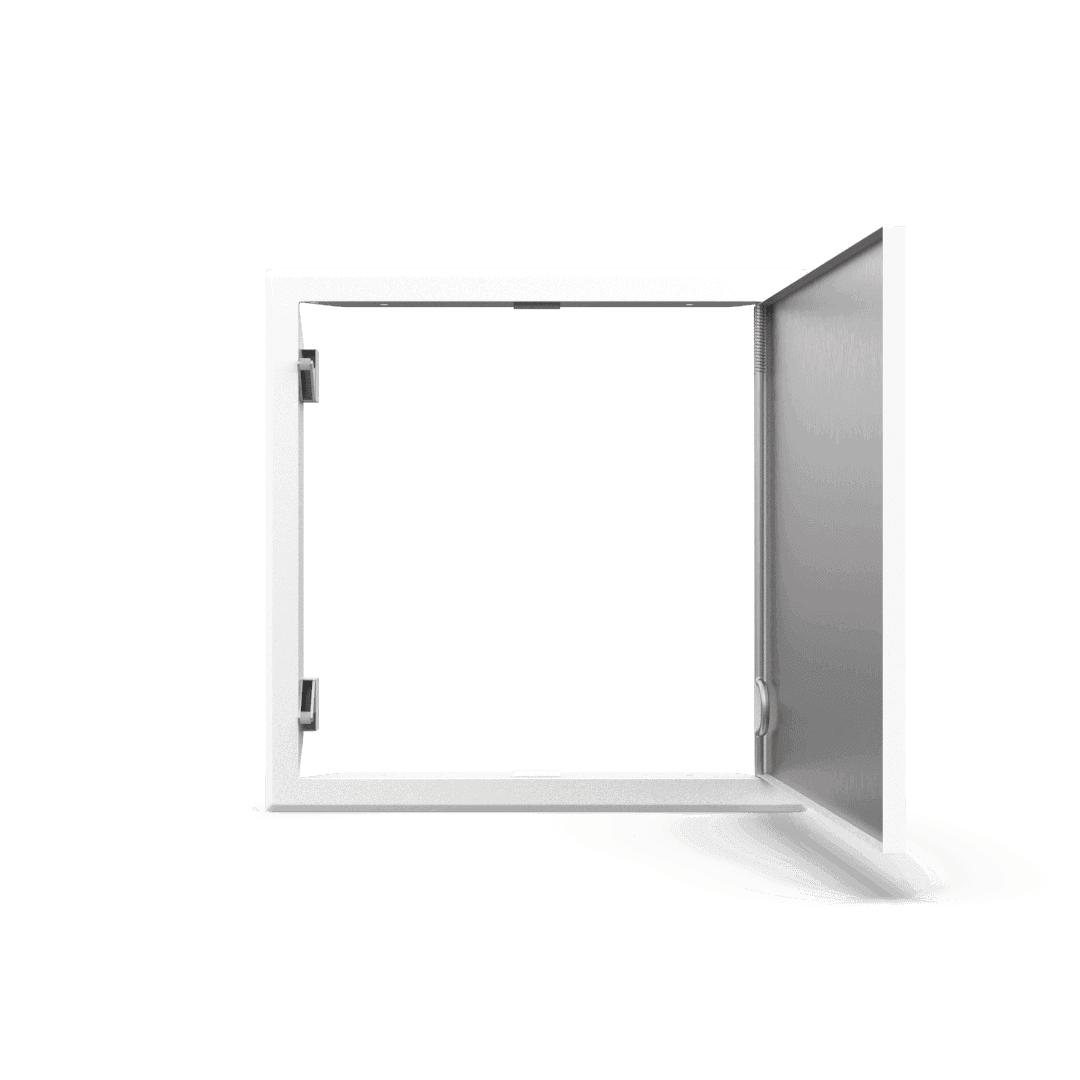 Trappe de visite métallique blanc trappe de visite metallique softline ouverture pousser lacher ouvert