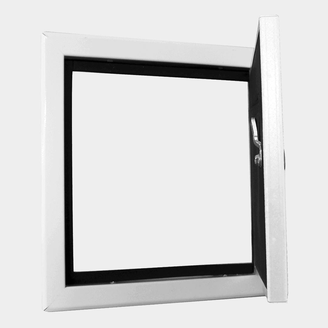 Trappe de visite étanche à l'air, à la poussière, isolation thermique et acoustique, clé 4 pans trappe de visite etanche air softline solid airproof ouvert