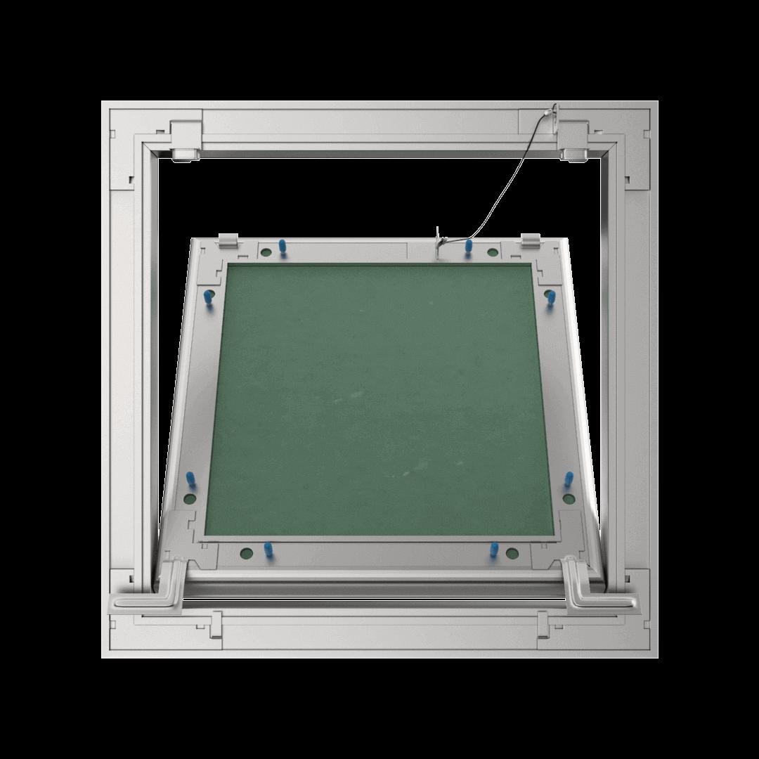 Trappe de visite plaque de plâtre 12,5 mm Eco Star trappe de visite plaque de platre alustar pousser lacher ouvert derriere